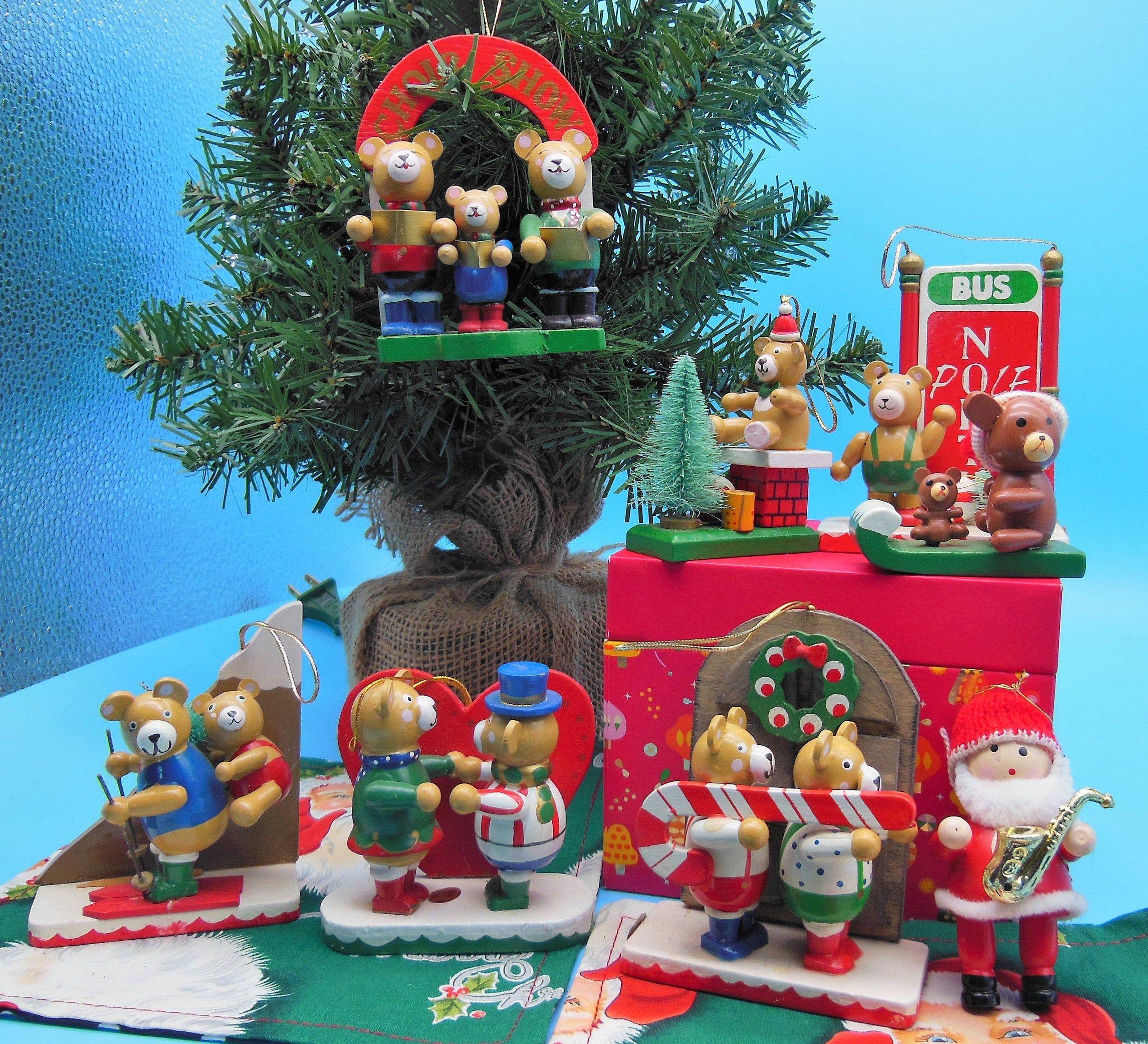 Teddy Bear Christmas Ornaments Vintage Christmas Bear Etsy Christmas Ornaments Christmas Diorama Christmas Bear