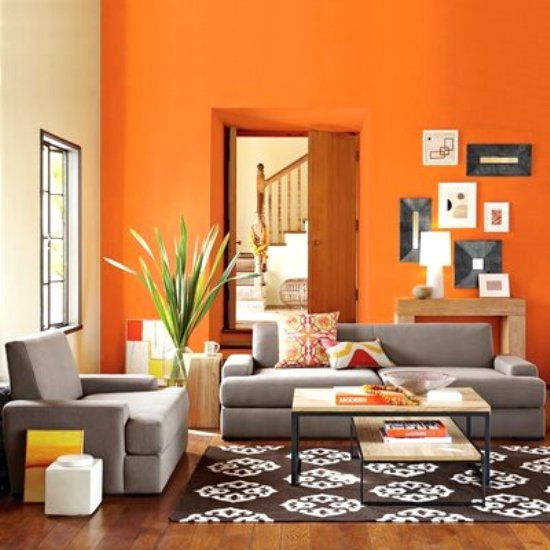 Orange Living Room Neutralizing Color Scheme With Blue Gray And Brown White Black Accents