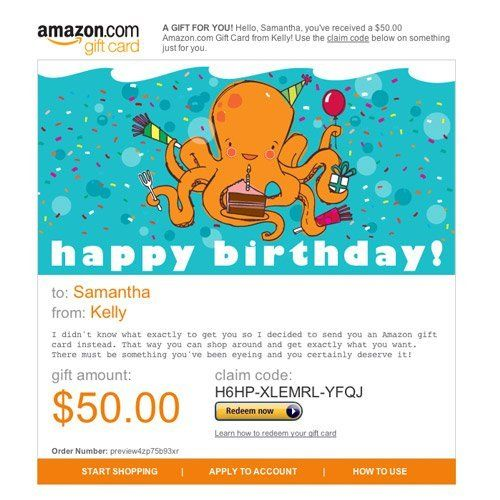 Amazon Gift Card E Mail Happy Birthday Octopus Http Www Amazon Com Amazon Gift Card Birthday Octopus Dp B004llil3c Gift Card Birthday Best Amazon Gifts