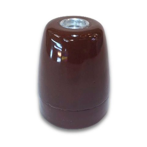 Portalámparas E27 porcelana marrón  #lamparas #montar #fabricar #decoracion #accesorios #piezas