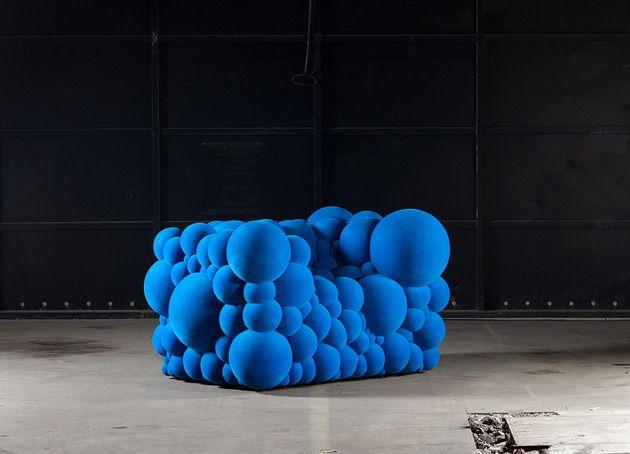 Sofa-kräftig Blau Kugel-Struktur Samt-Optik | spacelephant ...