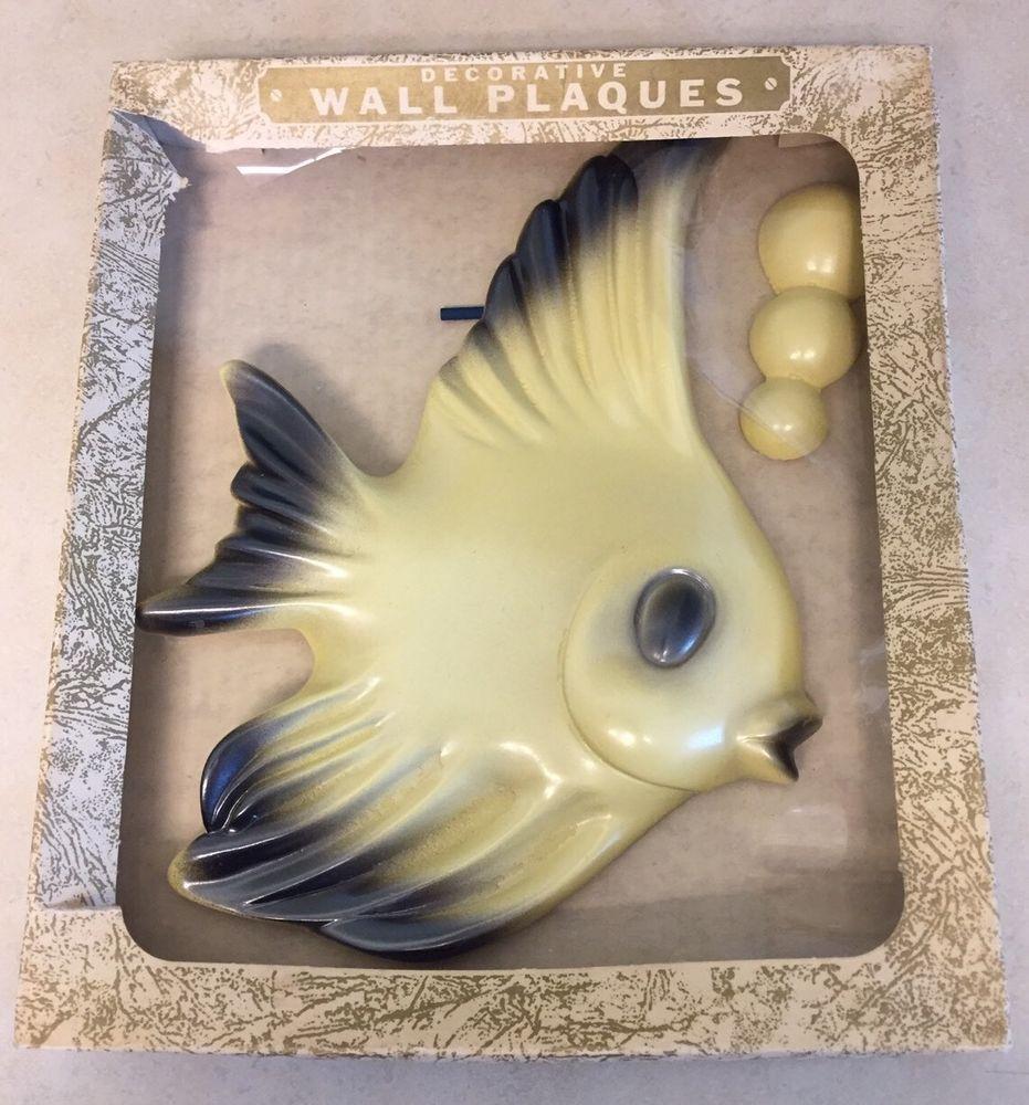Excellent Vintage Angel Fish & Bubbles Ceramic Wall Plaque Set ...