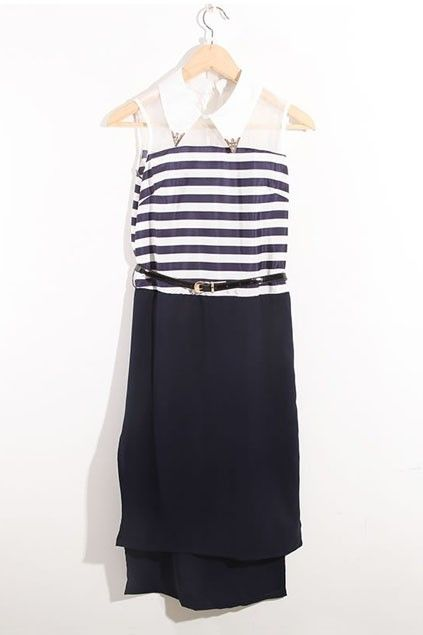 Dress made of chiffon, featuring turndown collar, sleeveless styling, stripes to upper part, contrast panel to chest, bound waist, in long length.
