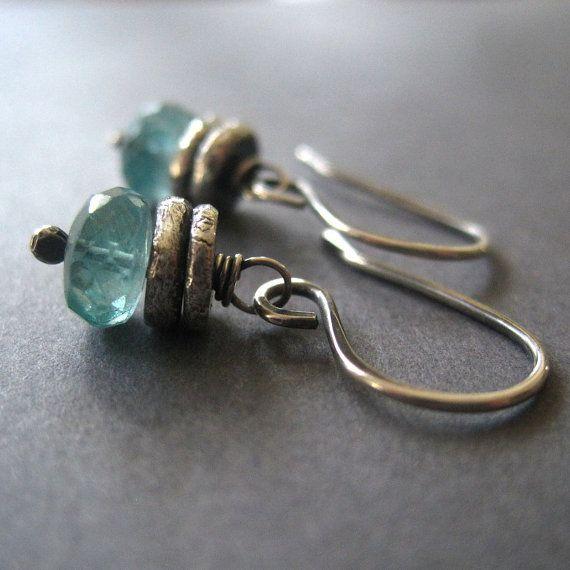 Apatite Earrings Silver Nugget Handmade Dangle Gemstone Jewelry