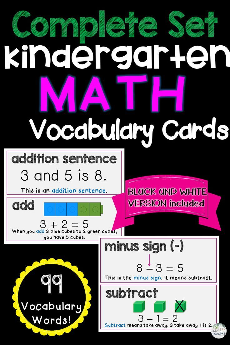 Kinder Math Word Wall Vocabulary Cards Math Word Walls Math For First Graders