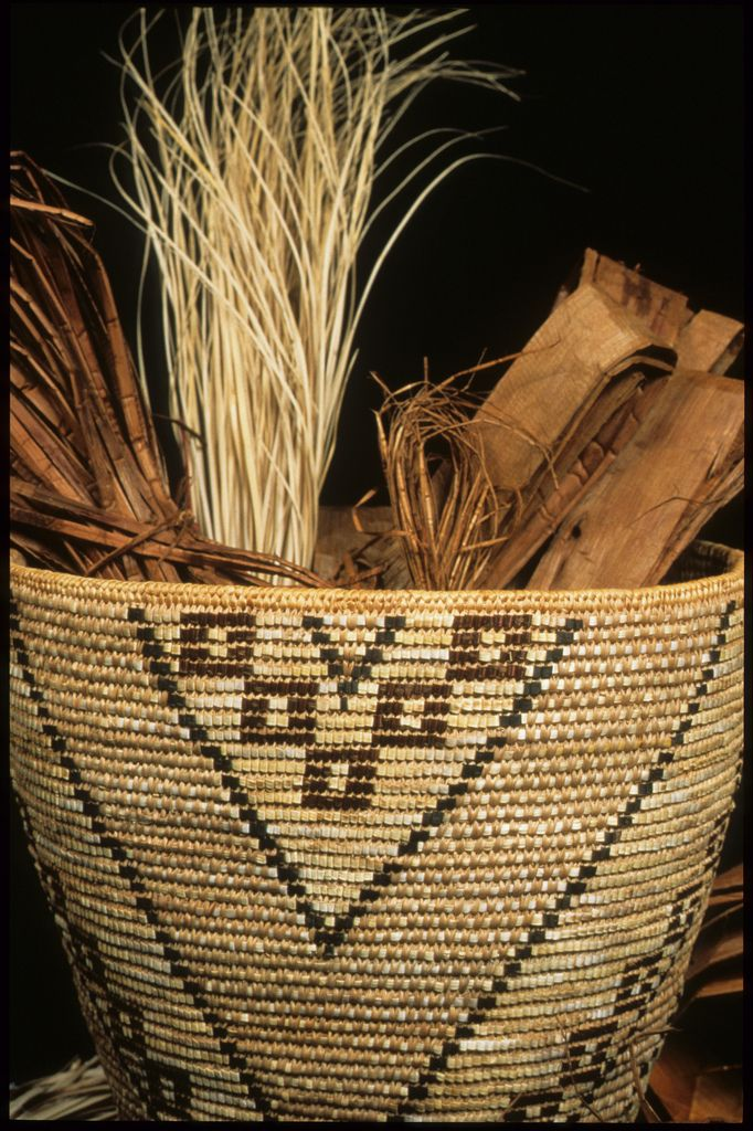 Basket by Elaine Emerson, Colville Weaver, with Weaving Materials