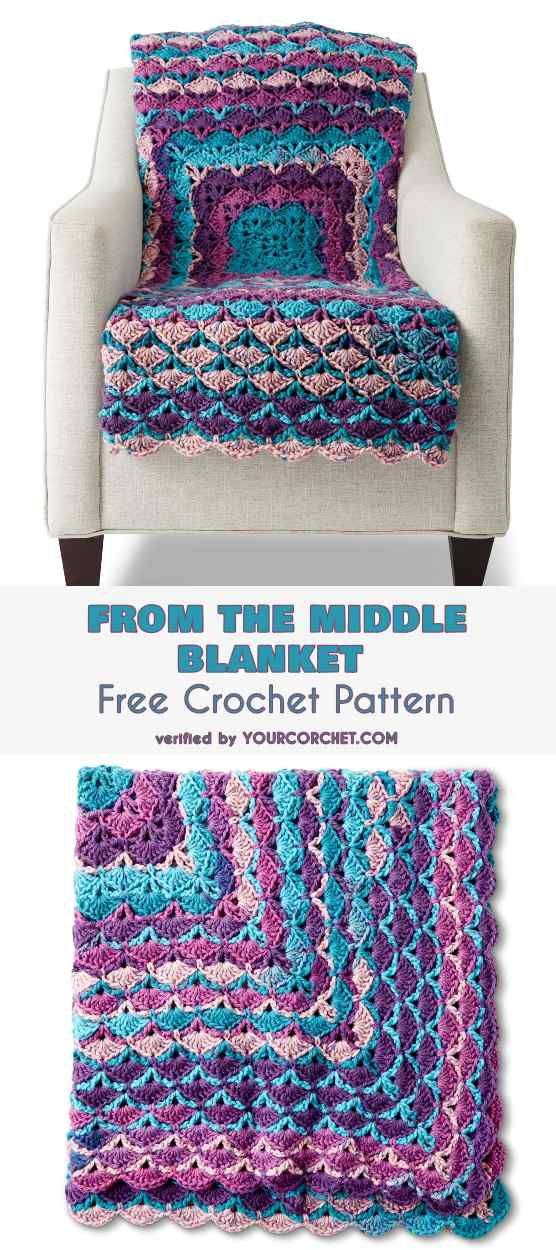 From the Middle Shell Stitch Blanket Free Crochet Pattern | Patrones ...