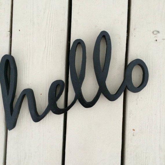 Wood Sign Wood Word Sign Hello Cutout Custom Sign Hello Sign Custom Sign Wooden Signs Diy