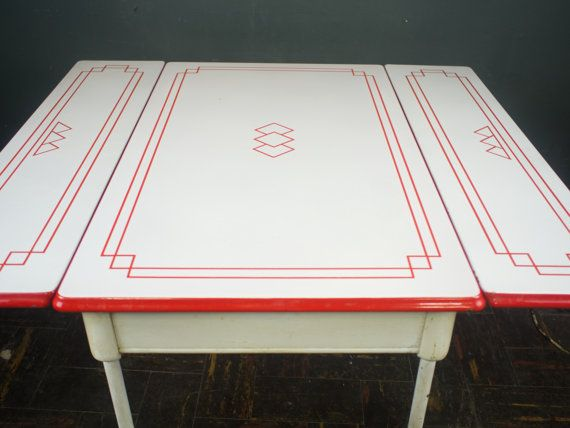 1920s Dining Table / Porcelain Enamel Kitchen Table