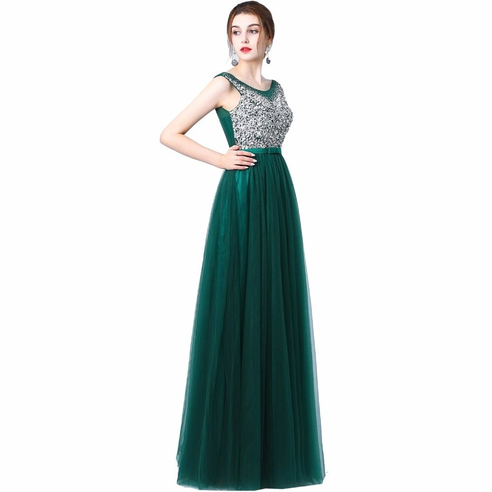 Ladybeauty 2018 New Sexy Luxury Long Style Tulle Evening Dress with Bling  Bead and Crystal Pearl Floor Length for Prom Party free shipping worldwide cd4ff359ad06