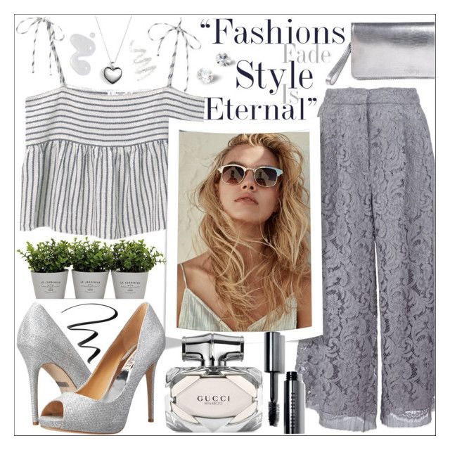 """Graceful Grey"" by tanjakr ❤ liked on Polyvore featuring Torre & Tagus, MANGO, ADAM, Badgley Mischka, Pandora, Gucci, Rochas, Cynthia Rowley, Stila and Bobbi Brown Cosmetics"