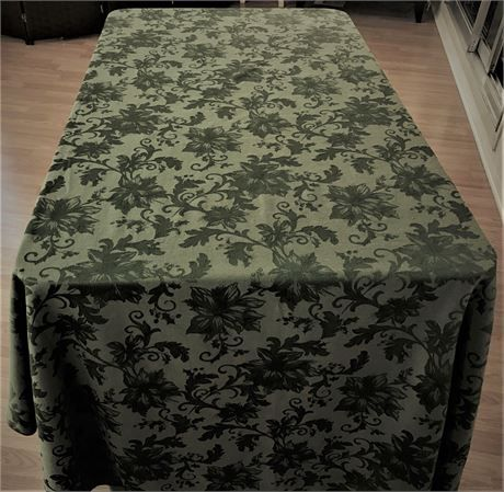 Vintage Large Banquet Size Dark Olive Green Damask Tablecloth. This  Tablecloth Can Be Used On