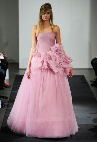 The Knot: Vera thinks pink? http://shine.yahoo.com/fashion/vera-wangs-fall-2014-wedding-dress-collection-222700737.html