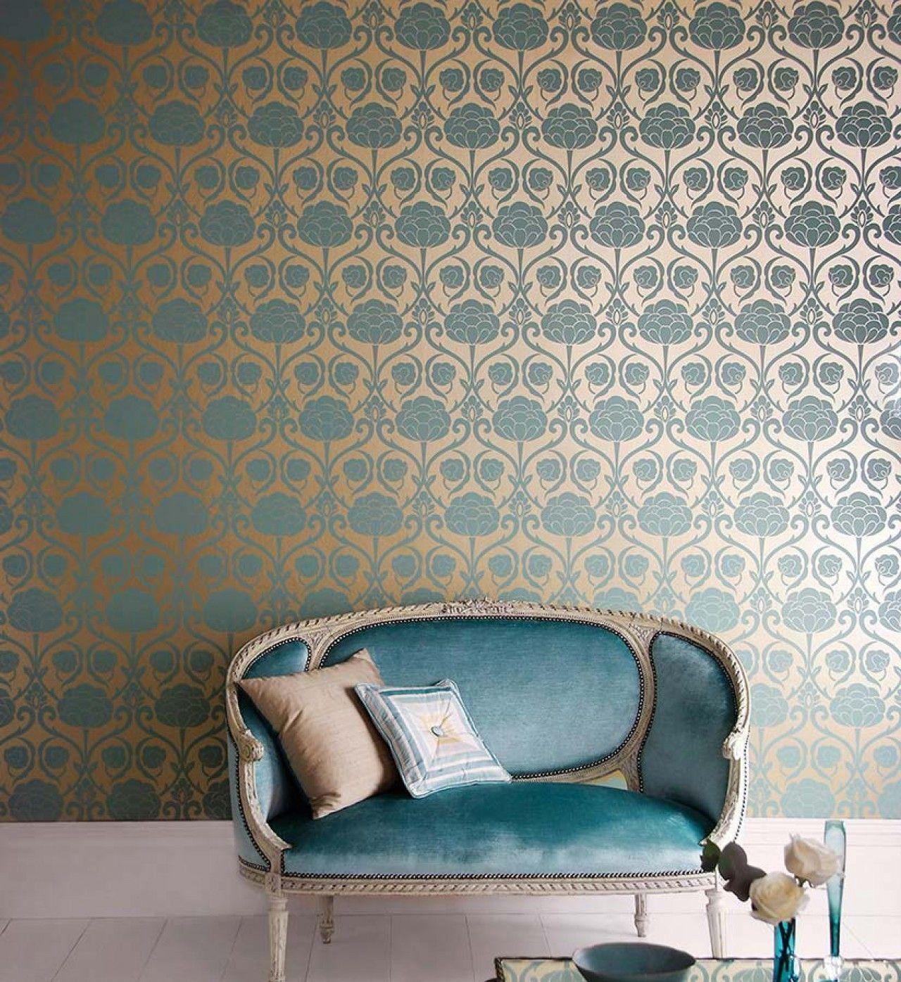 d 233 coration int 233 rieure salon chambre papier peint bleu turquoise dor 233 233 l 233 gant chic