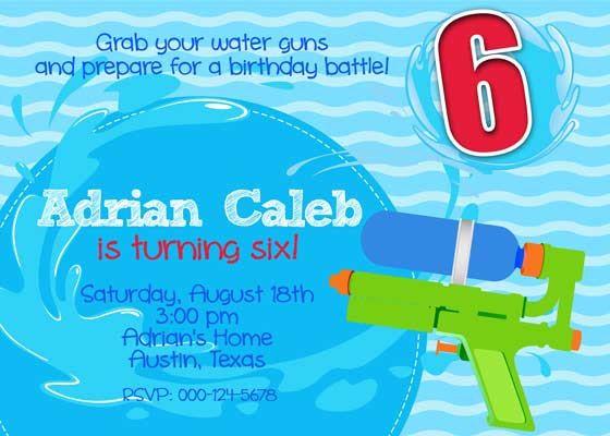 Birthday party invitation water gun splash diy printable blue birthday party invitation water gun splash by belleprintables 1250 stopboris Gallery