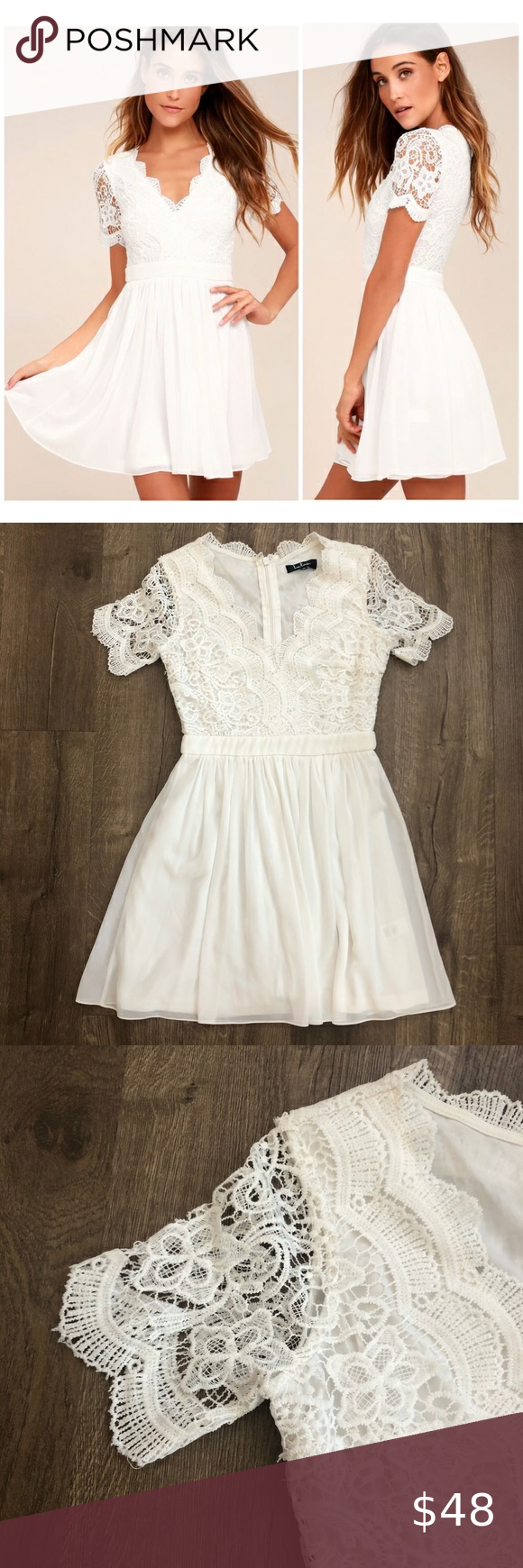 Lulu S White Angel In Disguise Lace Skater Dress M Lace Skater Dress White Lace Skater Dress Dresses [ 1740 x 580 Pixel ]