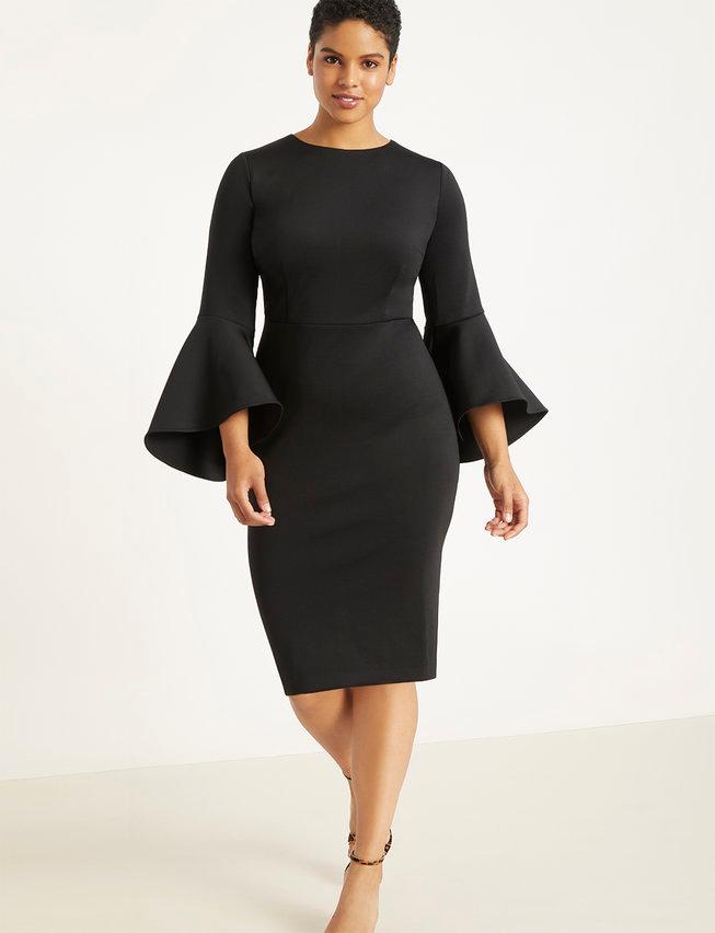 Flare Sleeve Scuba Dress #cocktailattireforwomen