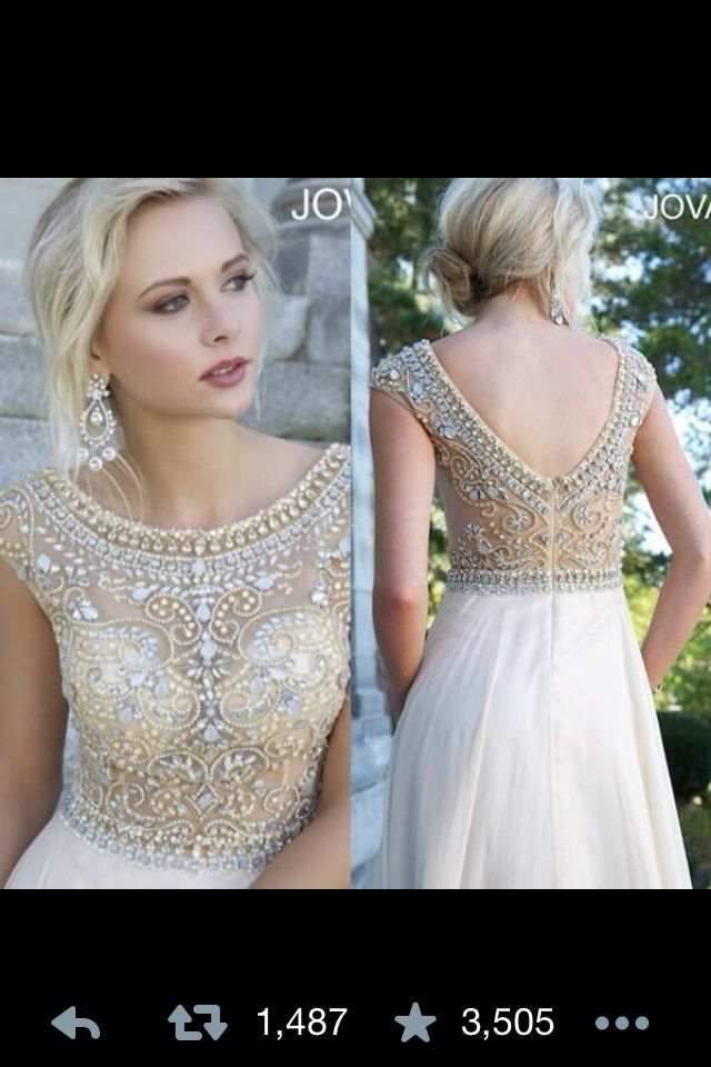 Great Gatsby Wedding or Prom Dress white flowy bottom and see through beaded and jewelled gold, cream and silver top. Empire waist with v back