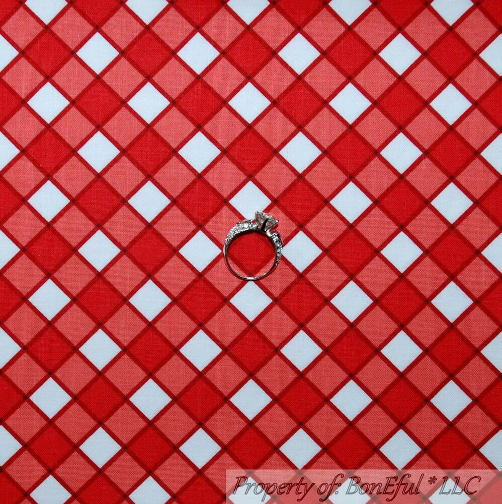BonEful Fabric FQ Cotton Quilt White Red Blue Plaid America*n Baby Check Stripe