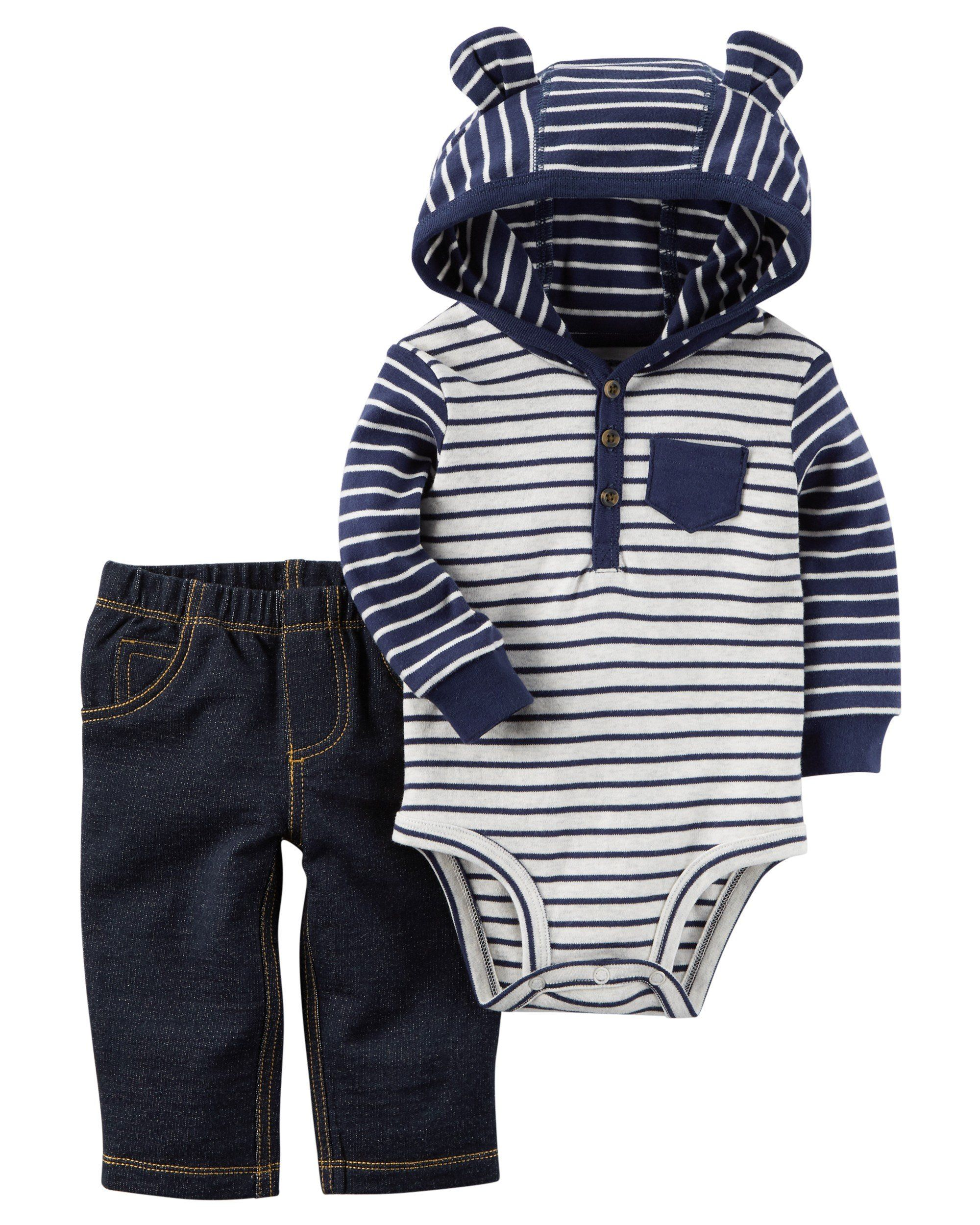 3030db738af0 Carters Baby Boys 2 Piece Hooded Bodysuit Pants Set 24 Months *** Click  image for more details. (This is an affiliate link)
