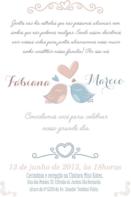Convite casal passarinhos   Convite de casamento ...