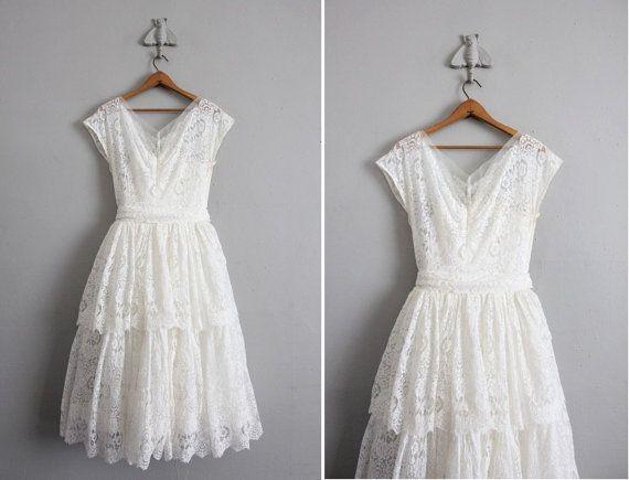 1950s vintage white lace wedding dress | White lace wedding dress ...