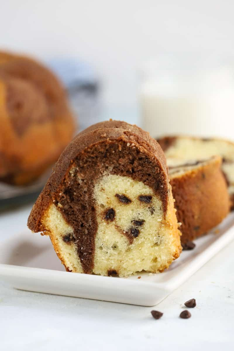 This Chocolate Chip Marble Bundt Cake Is And Old Fashioned Sour Cream Recipe That Is Easy Delicious In 2020 Sour Cream Recipes Favorite Dessert Recipes Bundt Recipes