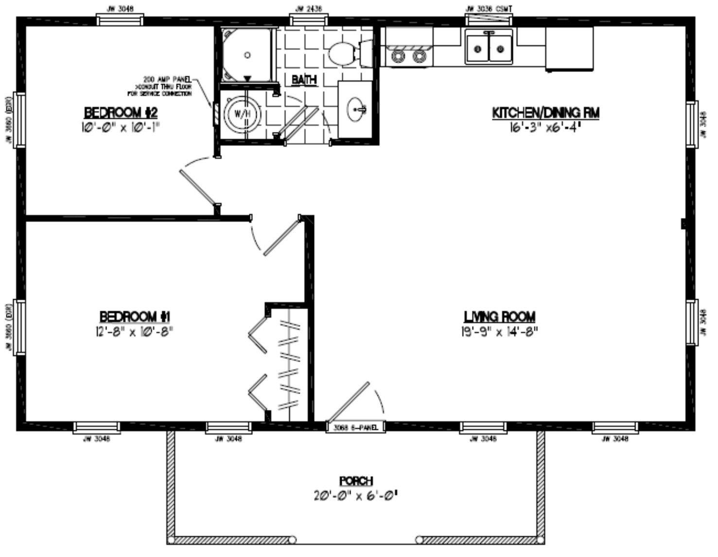 Image Result For 24x40 Floor Plans Cabin Floor Plans Two Bedroom Floor Plan Bedroom House Plans