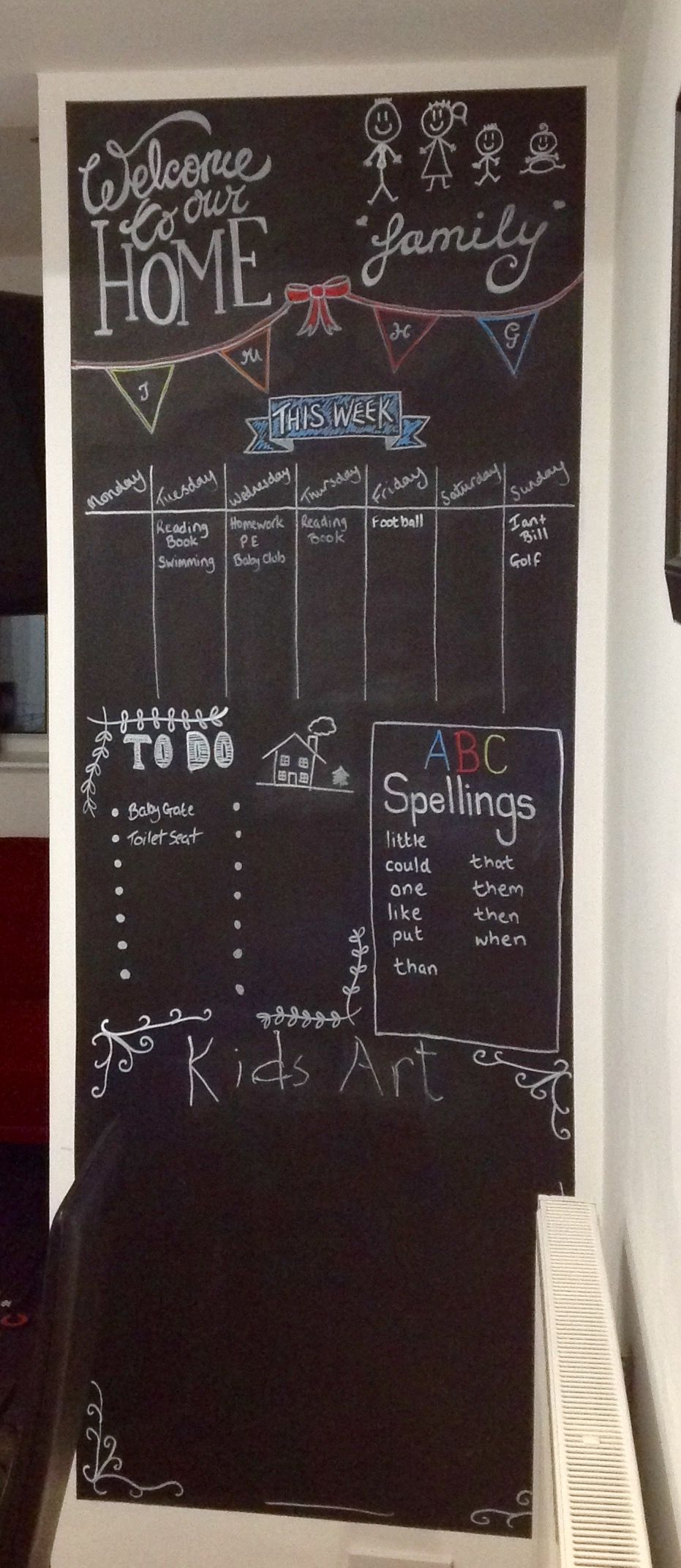 Family Chalk Wall Organiser After Pinning Tons Of Chalk Board