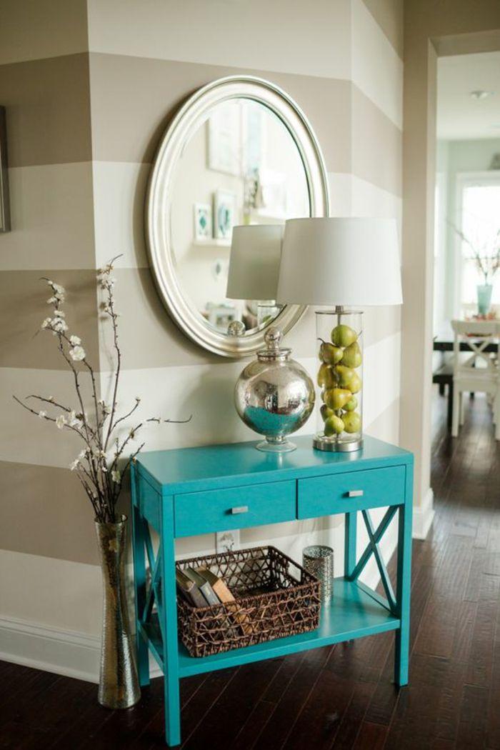 quelle couleur pour un couloir meuble relook et repeint en bleu turquoise avec deux tiroirs - Quelle Couleur De Mur Avec Des Meubles Blancs