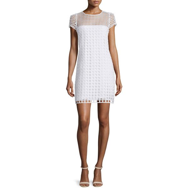 Milly Chloe Square-Eyelet Cotton Mini Dress ($395) ❤ liked on Polyvore featuring dresses, white, short-sleeve dresses, shift dress, white short sleeve dress, short dresses and short sleeve mini dress