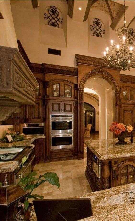 Best Luxury Mediterranean Kitchen Stained Wood Wall Niches 640 x 480