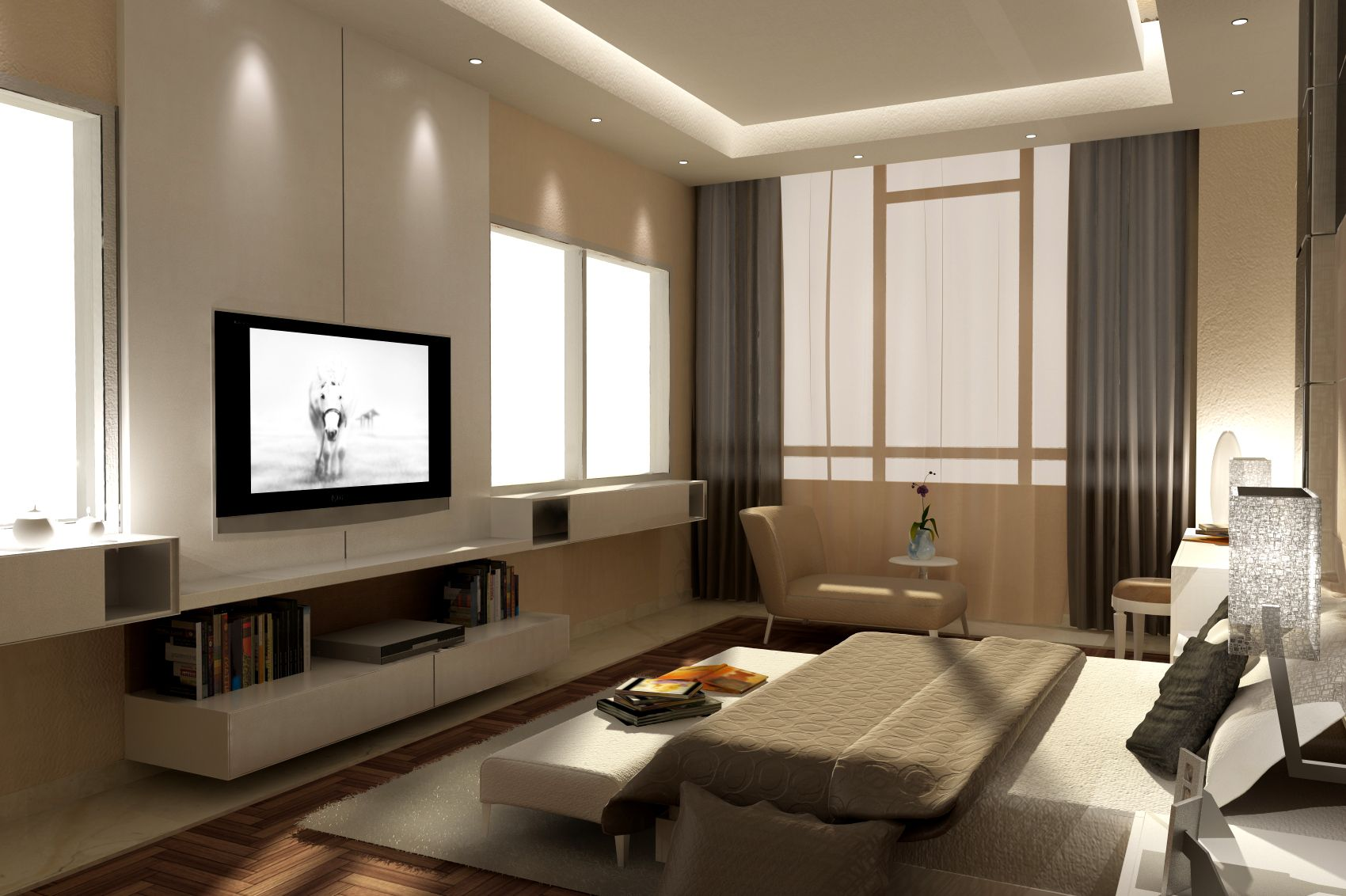 Bedroom modern bedroom interior design 3d max 3d for Modern house interior design bedroom