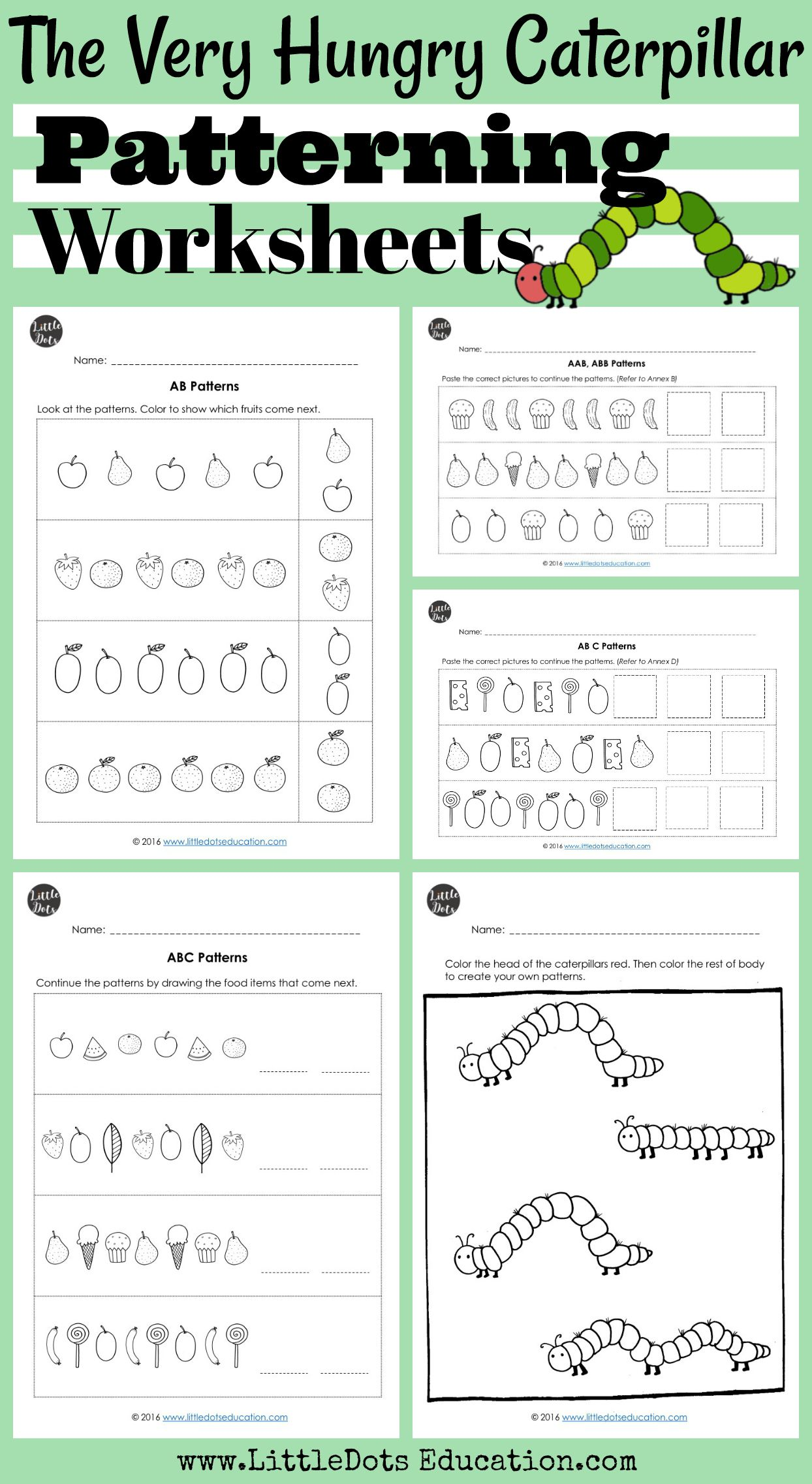 The Very Hungry Caterpillar Theme Patterning Worksheets