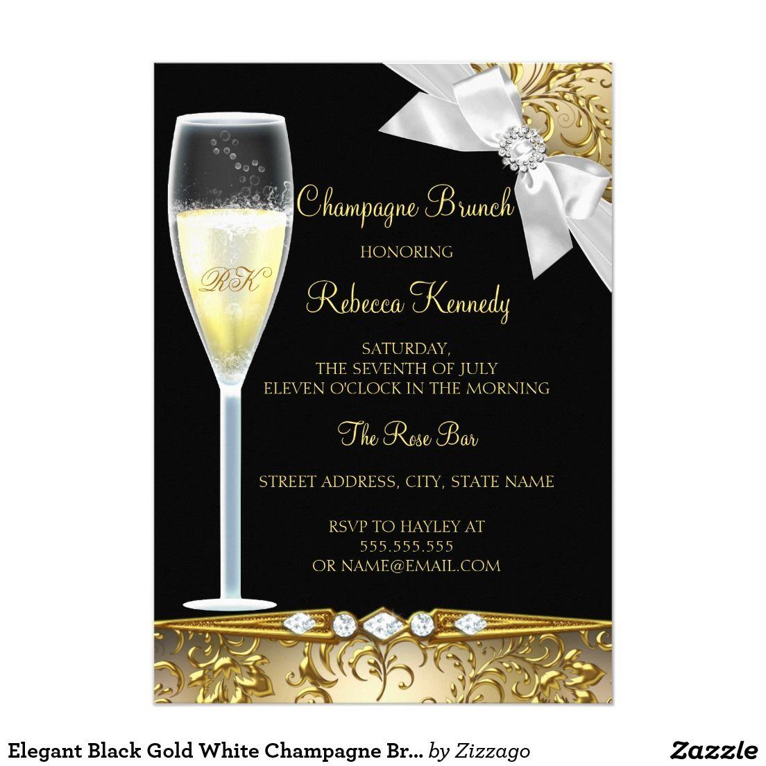 Elegant Black Gold White Champagne Brunch Invite Champagne Brunch