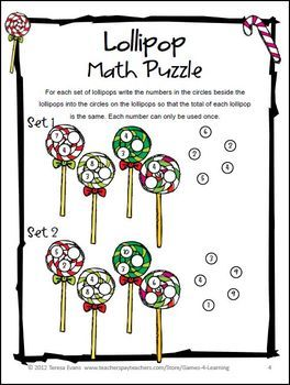 Freebie Lollipop Math Puzzle From Christmas Math Puzzles By Games 4 Learning Contains 2 Printable Chri Christmas Math Maths Puzzles Christmas Math Worksheets