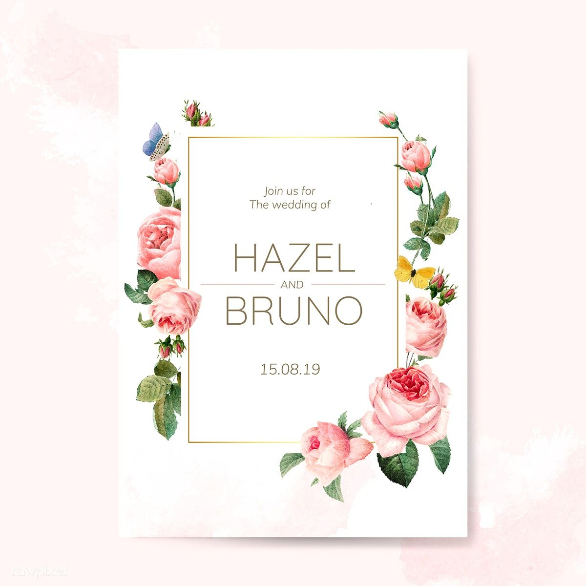 Wedding Invitation Card Decorated With