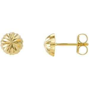 Genuine IceCarats Designer Jewelry Gift 14K Yellow Gold Half Ball Earrings With Backs. 06.00 Mm Pair Half Ball Earrings With Backs Half Ball Earrings With Backs In 14K Yellow Gold IceCarats. $49.00. Weight 0.47 grams. Genuine IceCarats Designer Jewelry Gift. 14K Yellow Gold. 30 day money back guarantee. 06.00 MM PAIR HALF BALL EARRING WITH BACKS