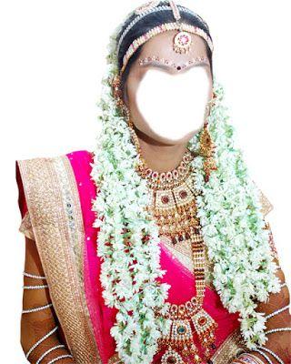 psd Indian bride gajra jewelry pink dress psd costume free download