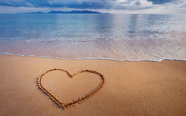 Scarica Sfondi Cuore Sulla Sabbia Spiaggia Mare Amore Segno