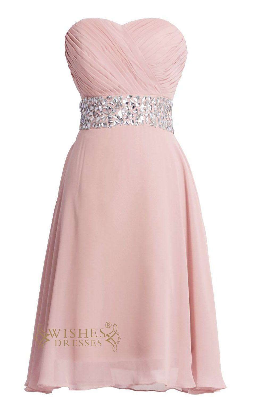 Pink chiffon rhinestones waistband short prom dresses am short