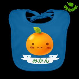 """Le bavoir porte l'inscription """"Mikan' (prononcez """"Mi-kann"""") qui signifie """"Mandarine"""". En coton écologique, il a été fabriqué uniquement à l'aide d'énergies renouvelables."""