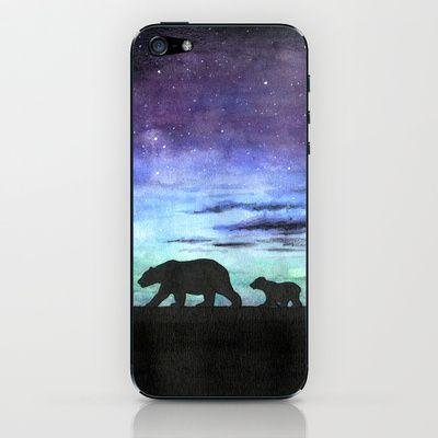 """Aurora borealis and polar bears (black version)"" iPhone & iPod Skin by Savousepate - $15.00 #iphoneskin #ipodskin #auroraborealis #northernlights #polarlights #polarbear #floe #night #watercolor"