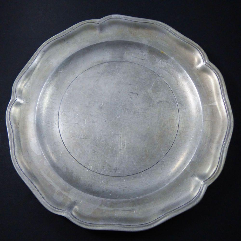 Vintage Stede Pewter Scalloped Serving Plate Platter 12