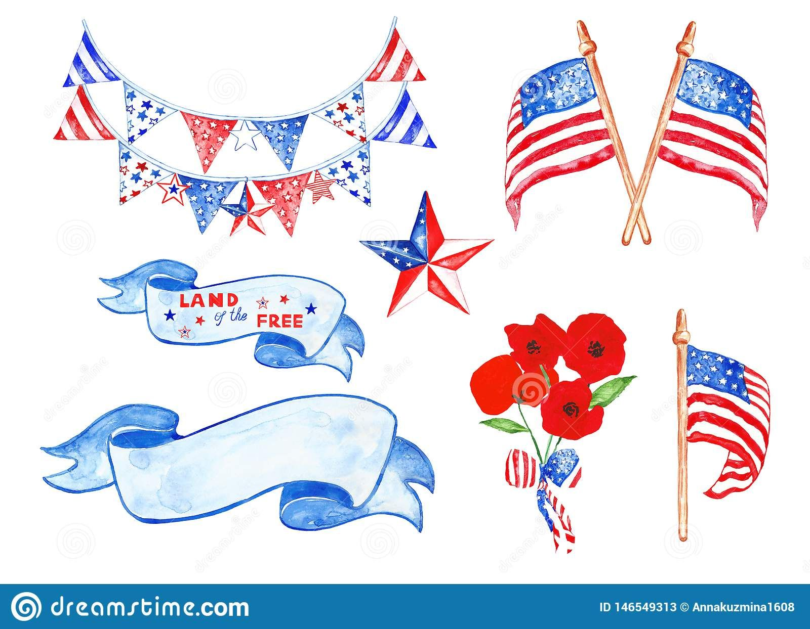 Memorial Day Watercolor Set With Us Flags Stars Decorative Hanging Poppies Vintage Banners Isolated On White Backgroun Vintage Banner Memorial Day Us Flags