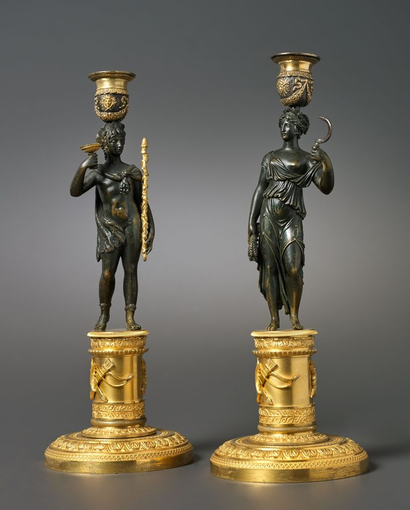 A PAIR OF EMPIRE CANDLESTICKS ATTRIBUTED TO PIERREFRANÇOIS FEUCHÈRE