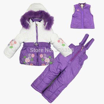 2014 новый новорожденных девочек зимняя куртка + жилет + брюки / дети лыжные костюмы / дети минус 30 градусов по цельсию одежда / дети толстый слой верхней одежды