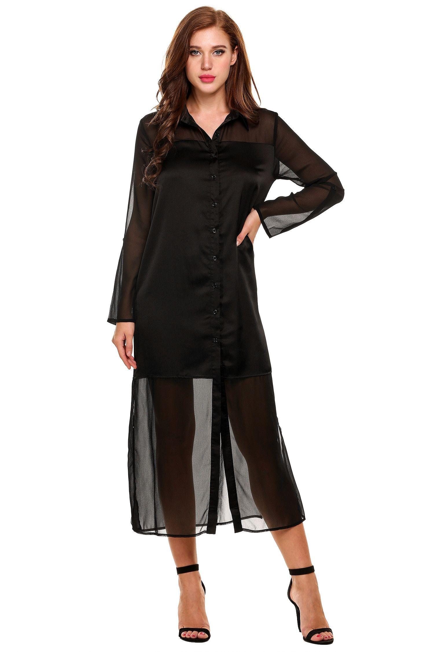 Black Roll Up Sleeve Sheer Chiffon Split Casual Maxi Shirt Dress ...