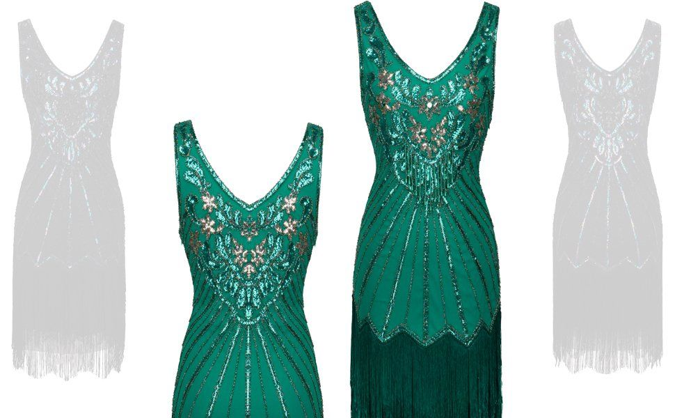 d44992cb5dc1 FAIRY COUPLE 1920s Sequined Short Flapper Party Dress Double Layer Tassels  Hem Cocktail D20S020 Ropa premamá