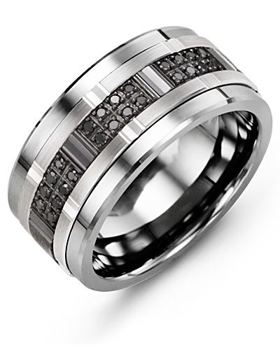 Men S Scattered Illusion Black Diamond Wedding Band In 2019
